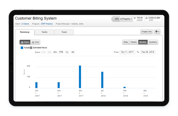 Optimized project delivery for project insights