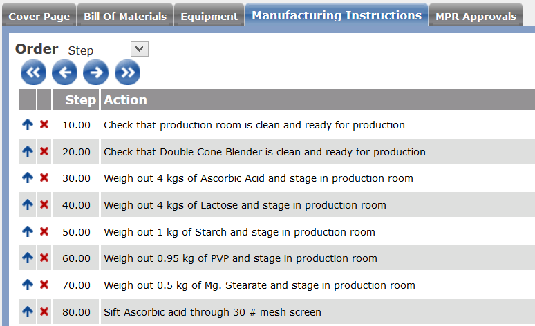Mater production record details