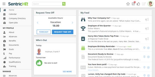 Sentric HR - Employee Dashboard