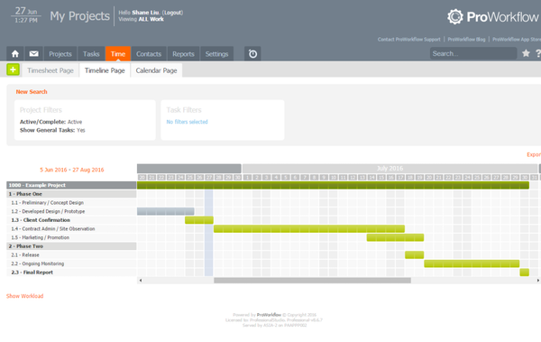 ProWorkflow Timeline