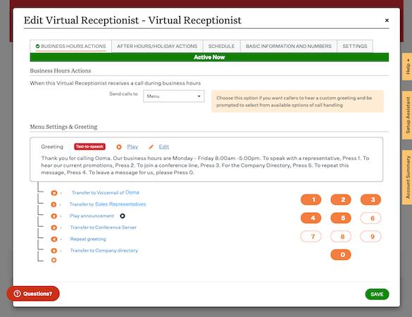 Customize Virtual Receptionist