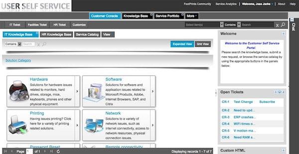User self-service page