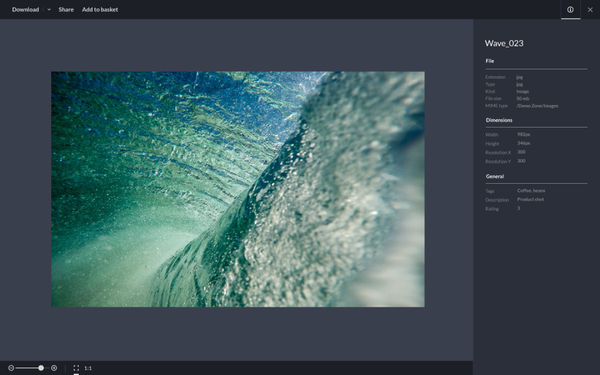 High resolution image preview in WoodWing Assets