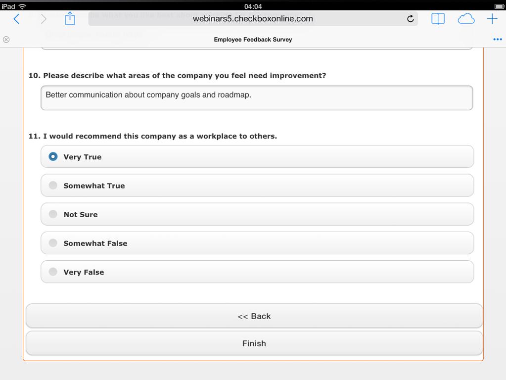 Example feedback survey