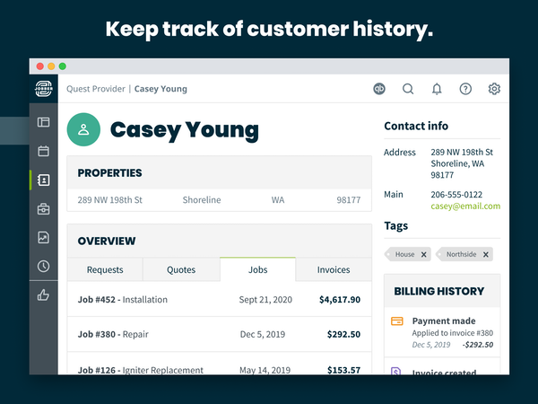 Track customer history.