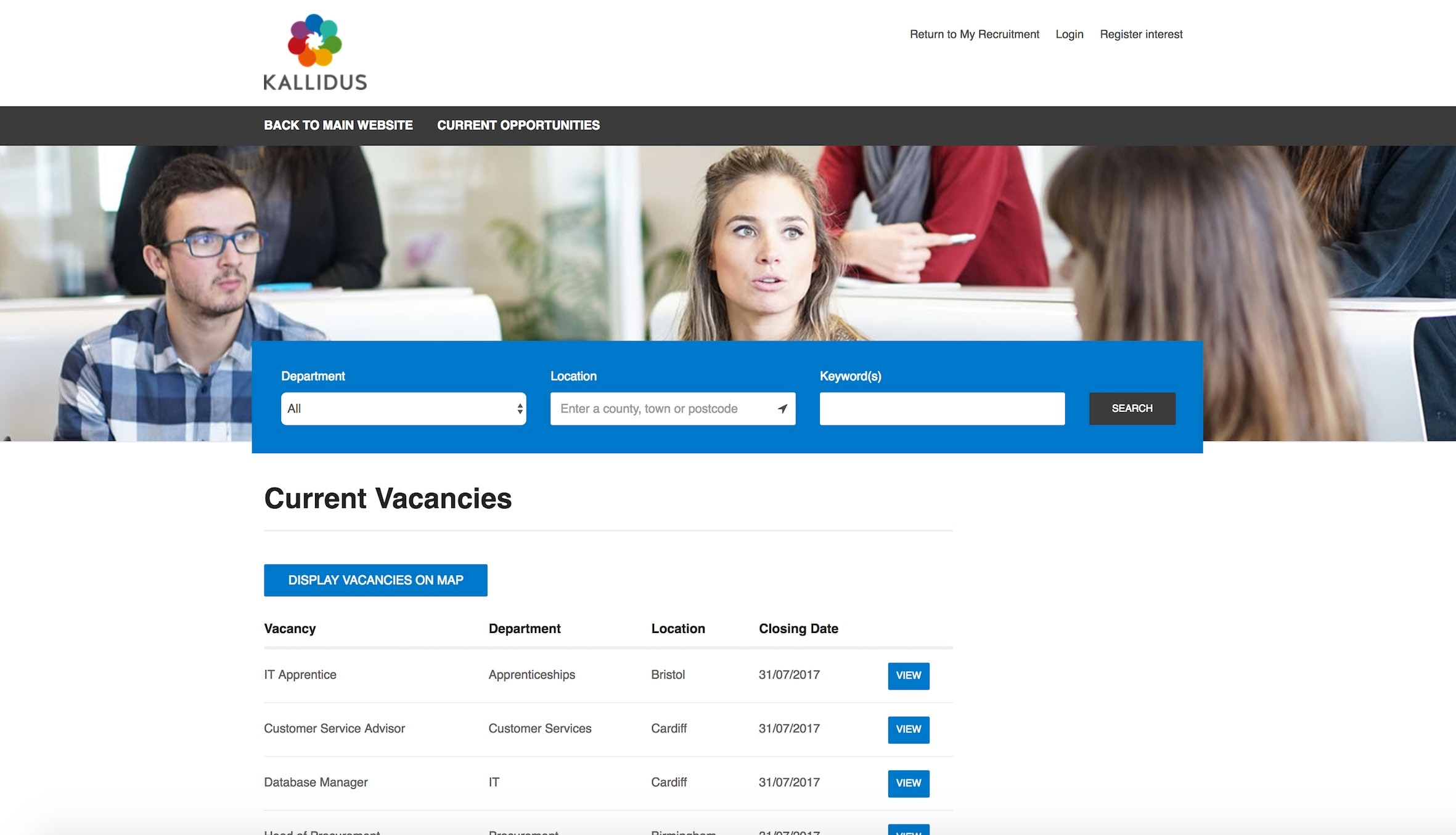 Website careers page