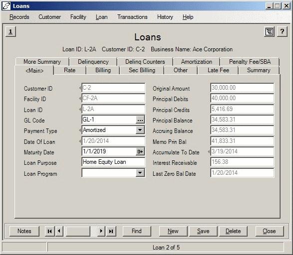 Loans screen
