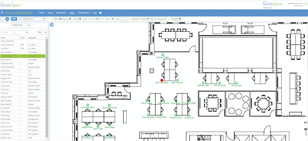 Manage and find people on floor plans, assigning them to spaces and assigning assets to them.