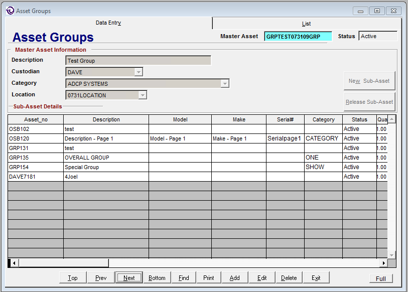 Asset groups