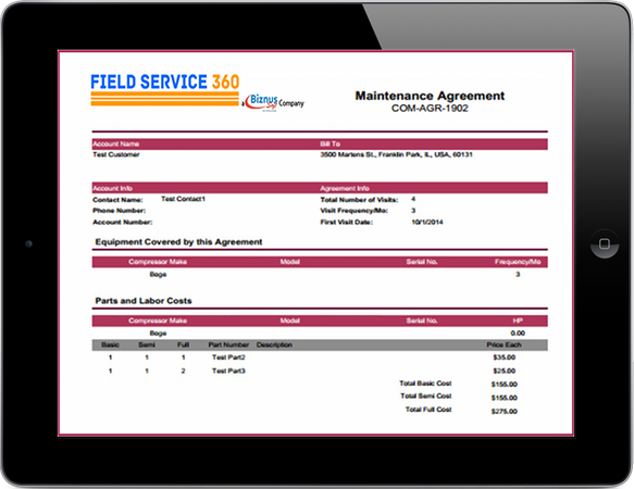 Field Service 360 - Track agreements