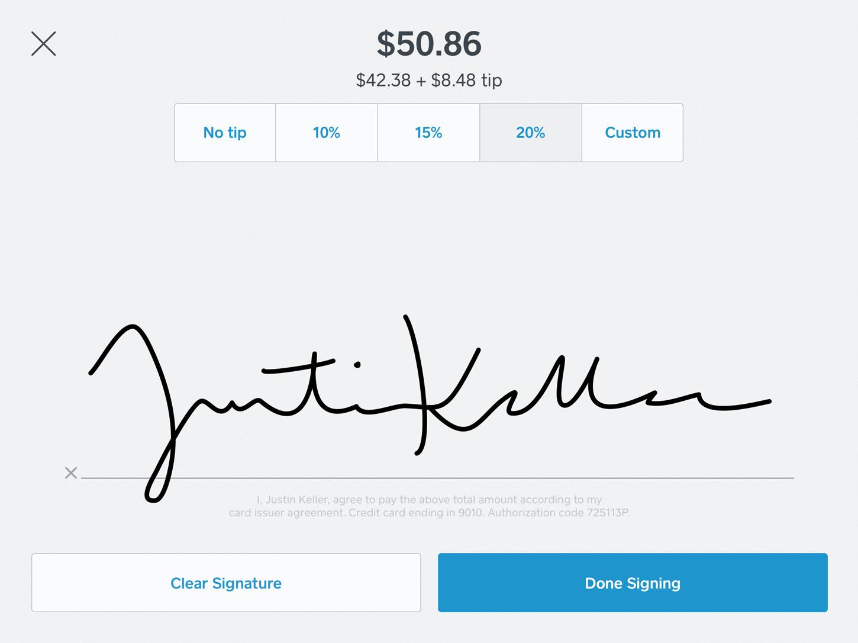 Customer signature