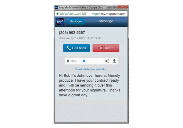 Voicemail transcription