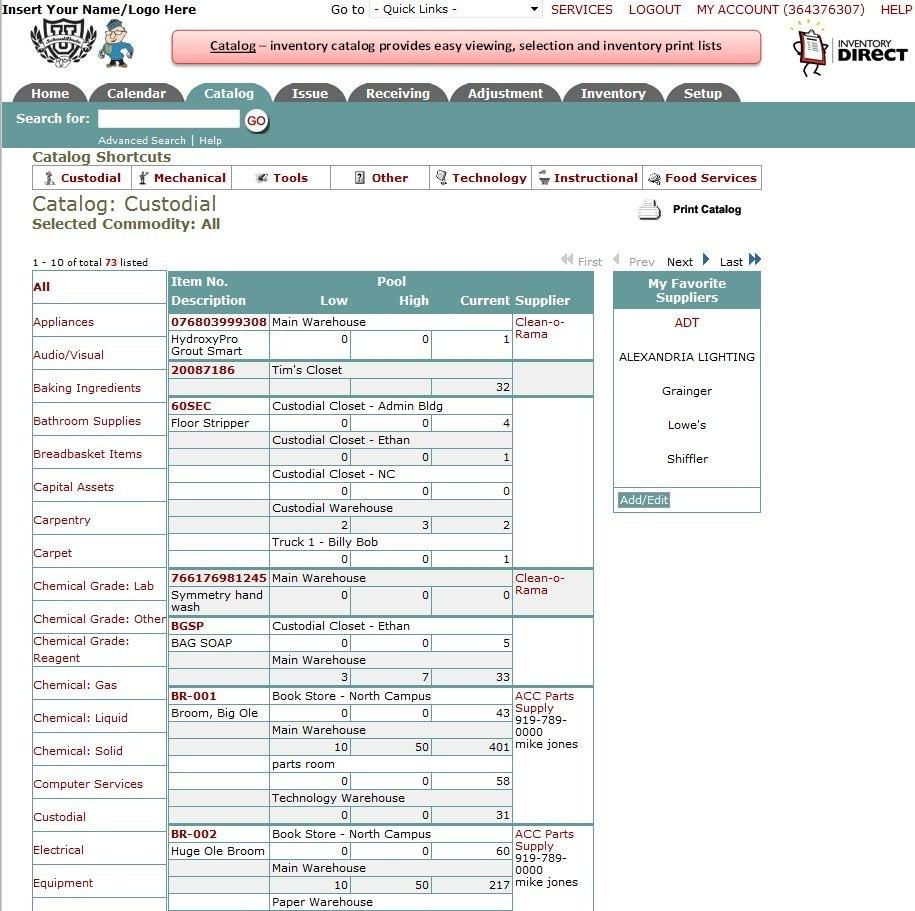 Inventory catalog
