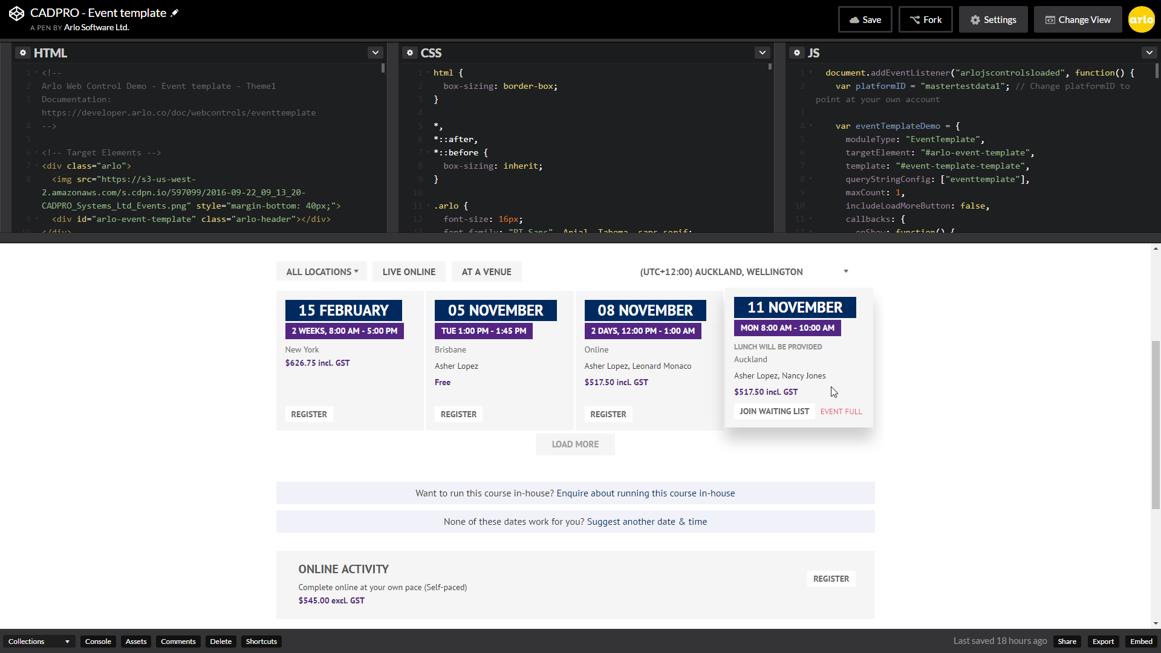 Build event templates