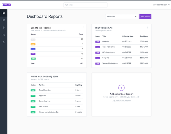 Vault: reporting dashboard