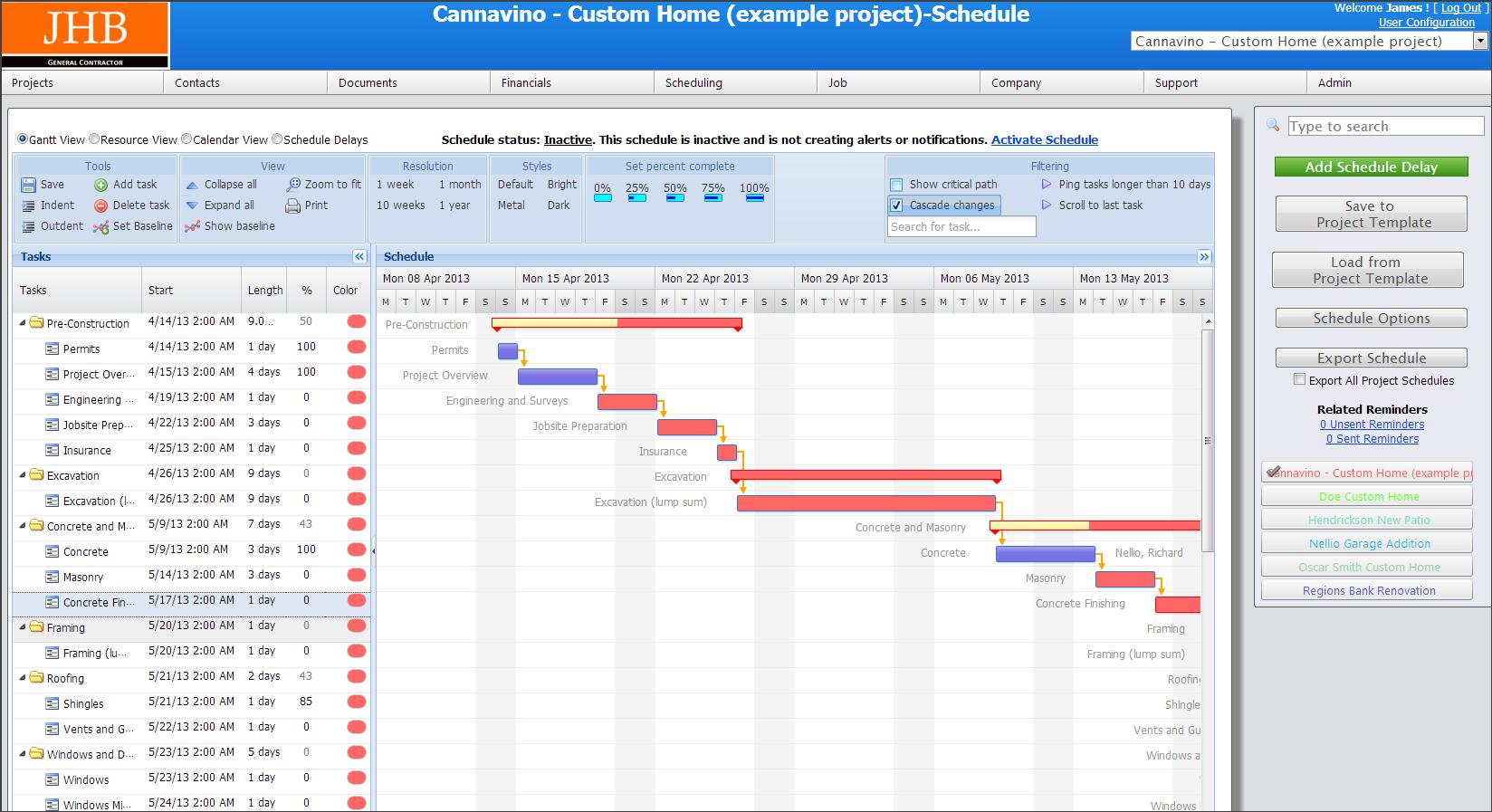 Gantt Chart Schedule