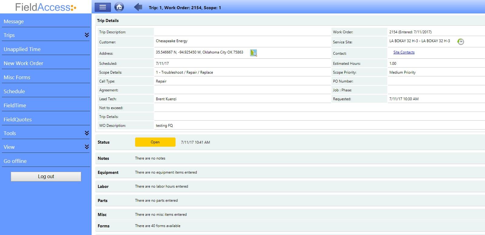 Mobile Work Order Management