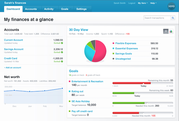 Xero personal dashboard screenshot