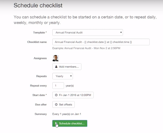 Schedule checklist