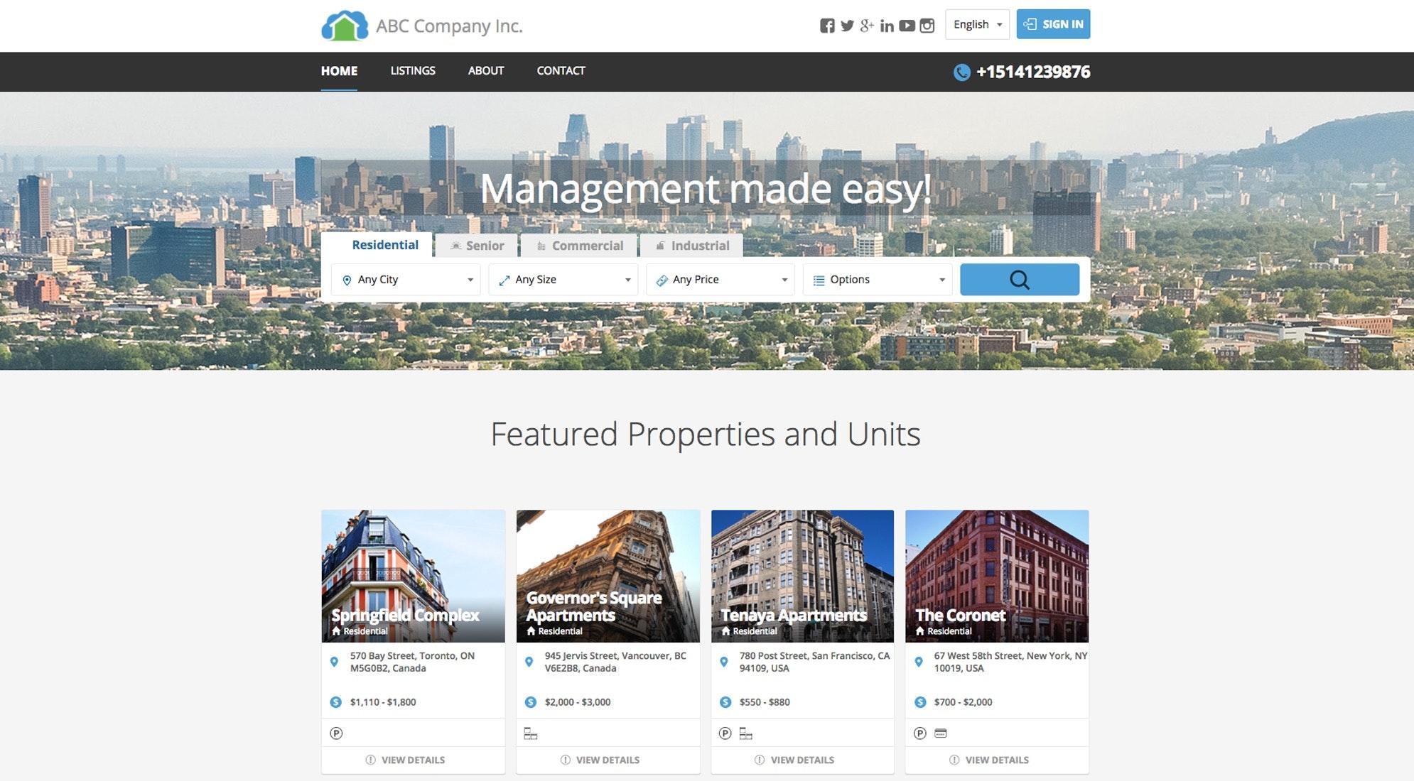 Custom company websites