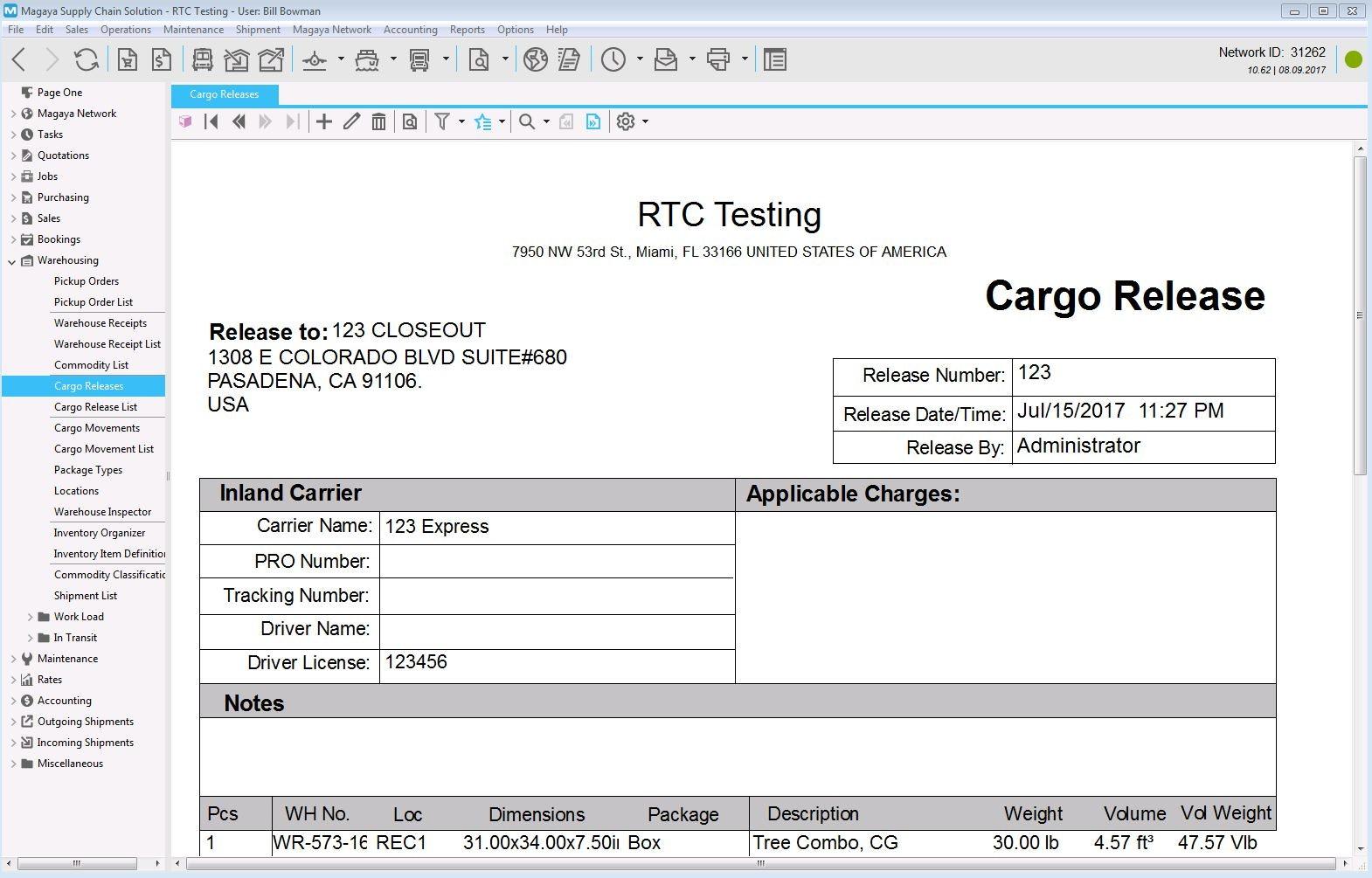 Cargo release