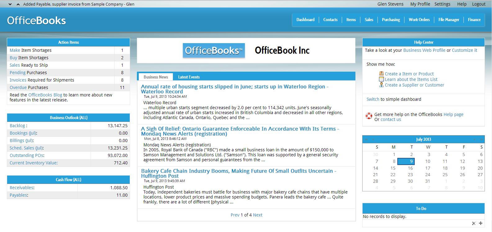 OfficeBooks - Dashboard