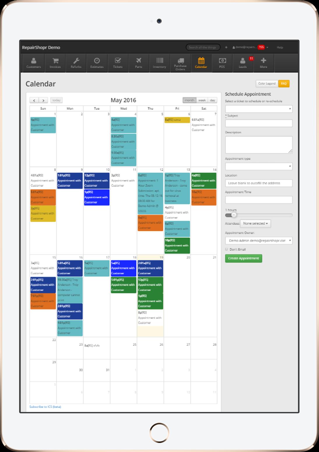 Mobile calendar view