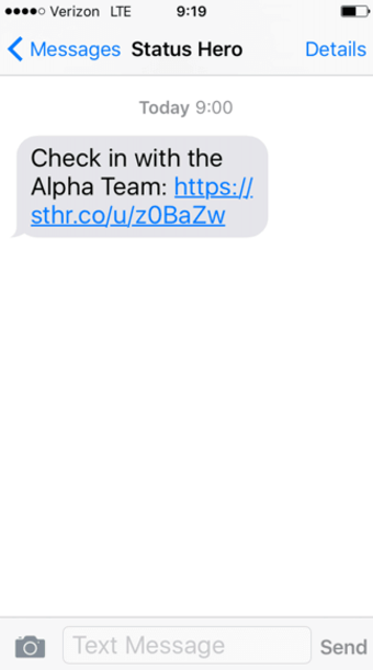 Check-in text