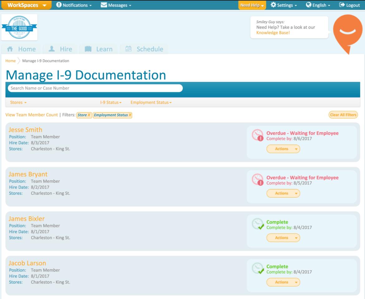 Manage I-9 documentation