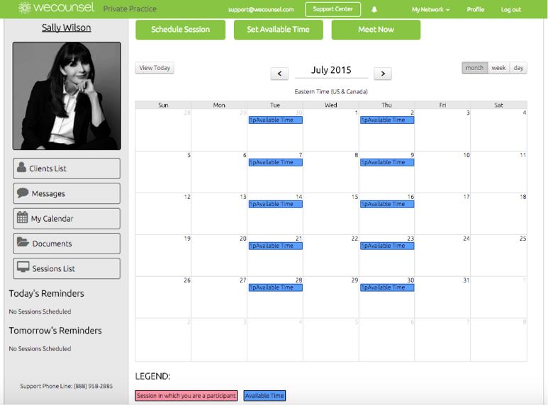 Wecounsel - Availability calendar