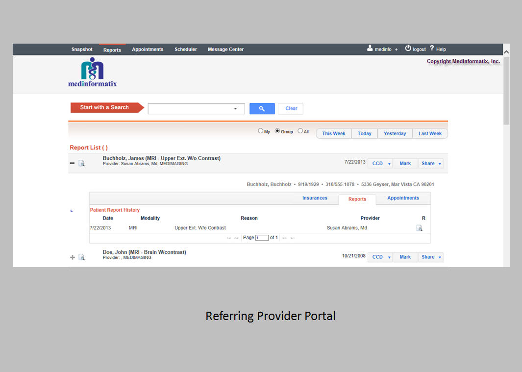 Referring provider portal
