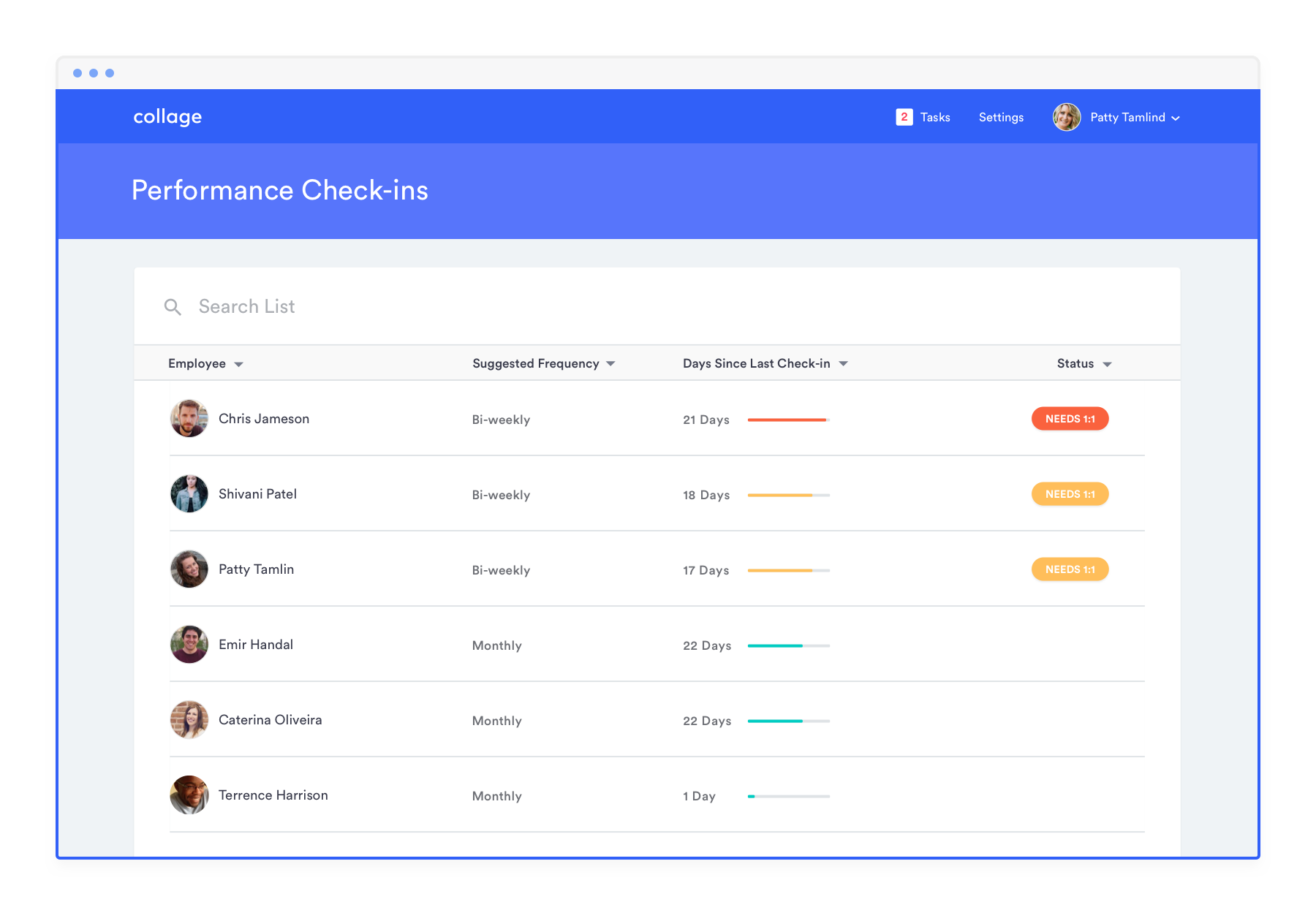 Performance check-ins