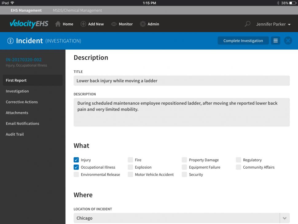 Incident management - mobile tablet