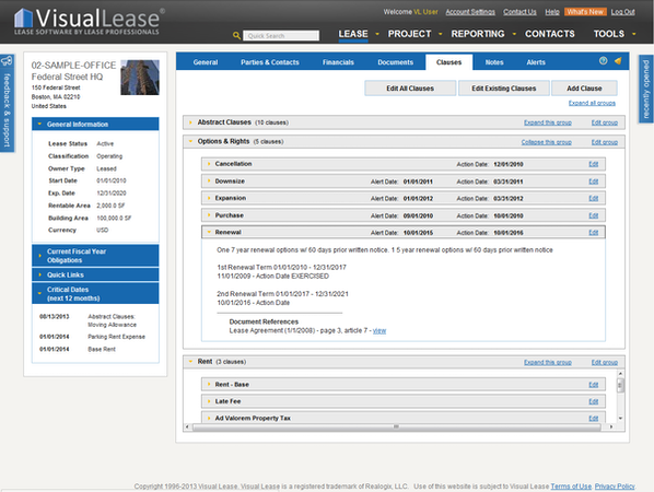 Lease clauses tab
