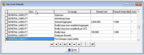 Coverage limit setting