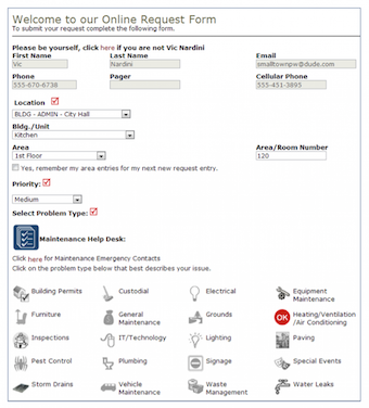 Online request form