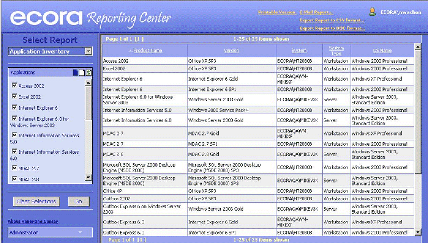 Computer inventory report