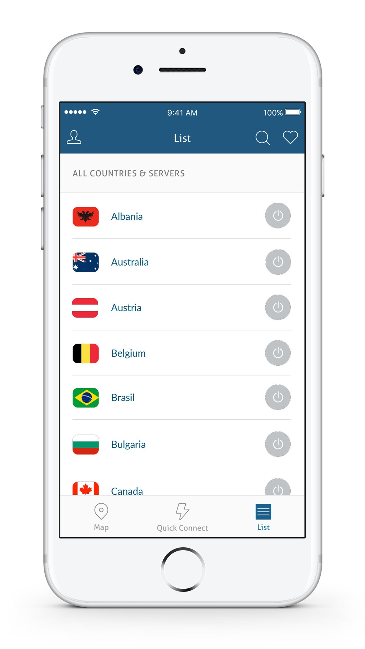 Mobile countries and servers list