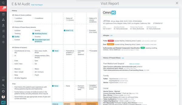 E&M audit tool and visit report