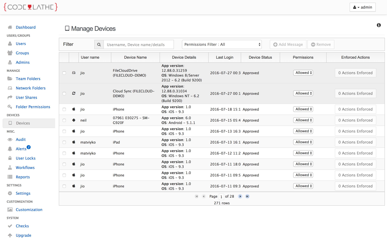 Admin device management