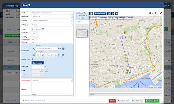 Nexonia Expense Reports mileage screenshot