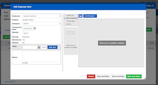 Nexonia Expense Reports add expense items screenshot