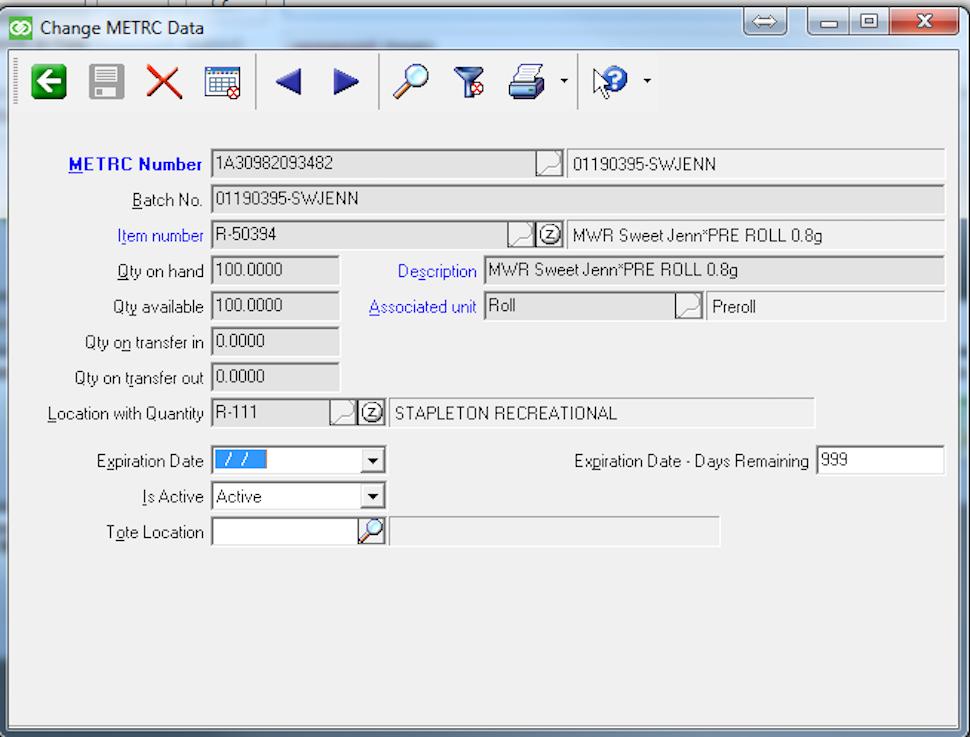METRC data screen