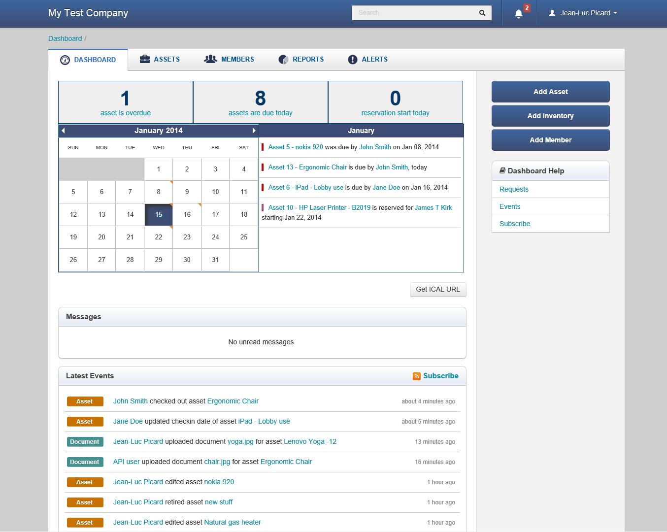 EZOfficeInventory - Dashboard
