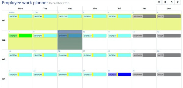 Employee schedule plan