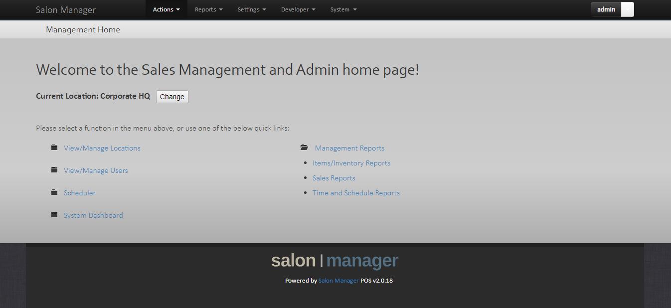 Admin homepage