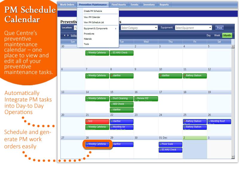 Maintenance calendar