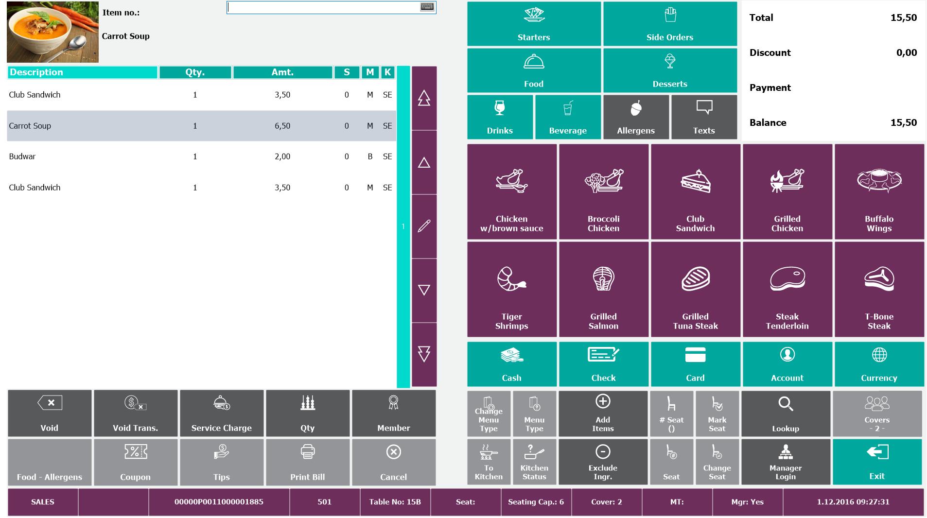 LS Retail - POS order screen