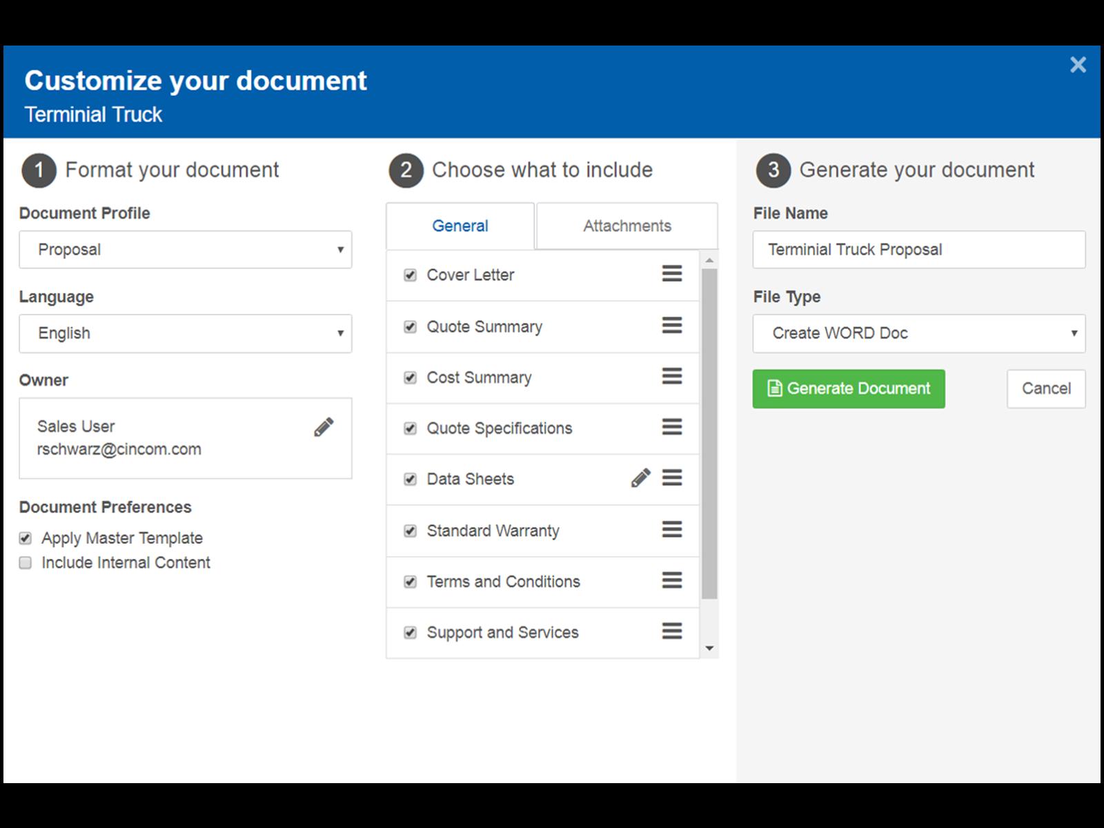 Customize documents