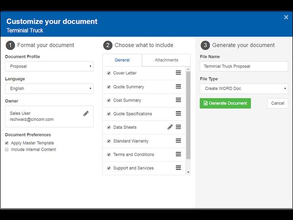 Cincom CPQ - Customize documents